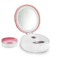 Nano Mist Facial Sprayer USB Charging Mini Face Steamer Multifuctional LED Spa Replenish Water Device Makeup Mirror Power Bank