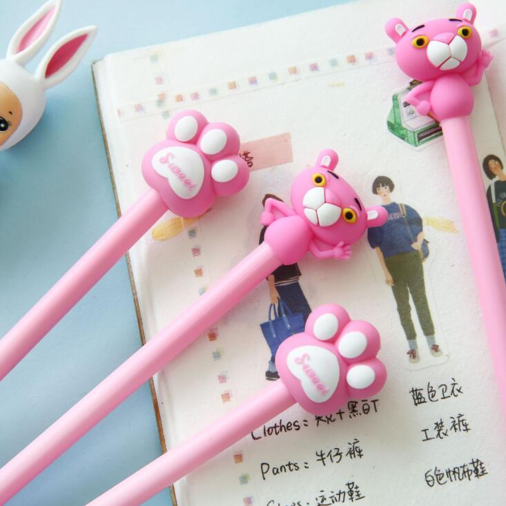 2 Pcs Lot Pink Leopard Panther Paw Gel Pen Promotional Gift Stationery School Office Supply