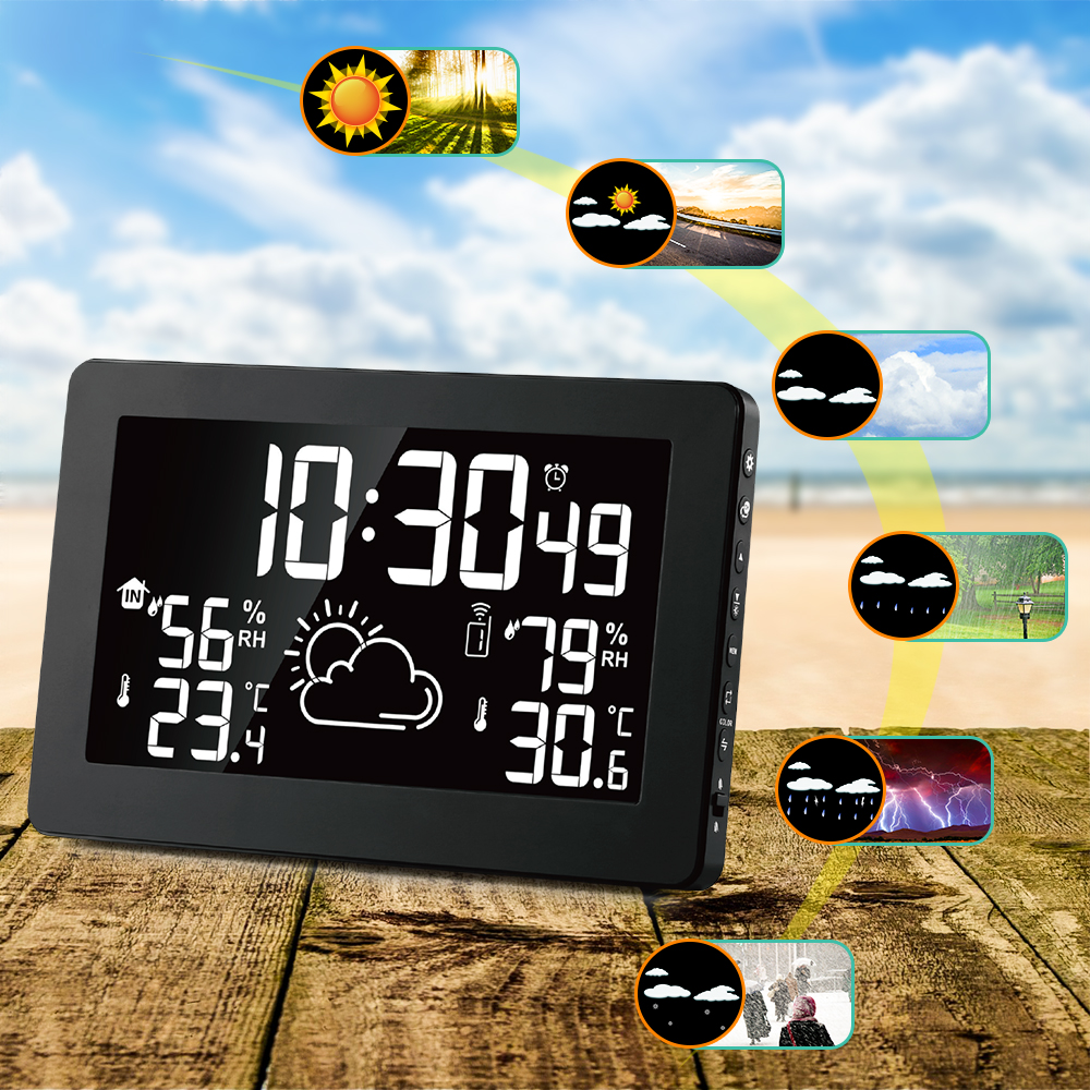 Image 2 - Protmex PT3378A Weather Station, Wireless Indoor Outdoor  Thermometer Hygrometer Digital Alarm Clock Barometer  ForecastTemperature Instruments