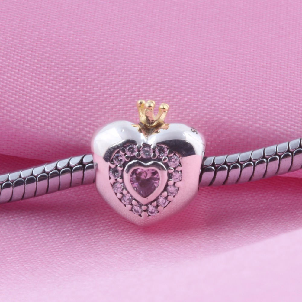 ZMZY Authentic 100% 925 Sterling Silver cz Crown Princess Heart Bead Fits Pandora Charms Bracelet DIY jewelry
