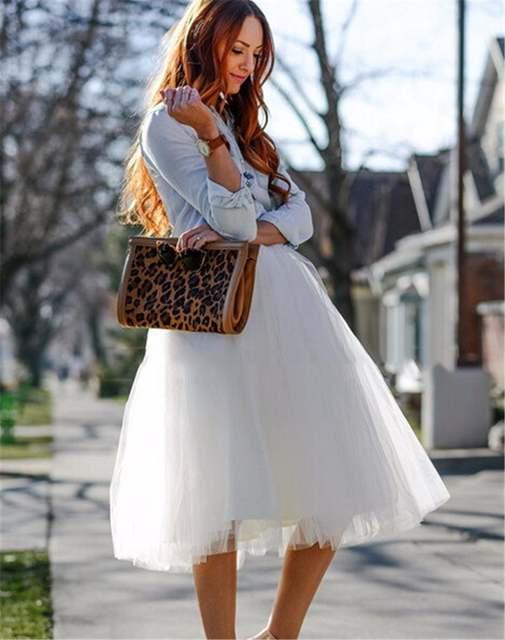 80b8c846d06 New Puff Women Chiffon Tulle Skirt White faldas High waist Midi Knee Length  Chiffon plus size