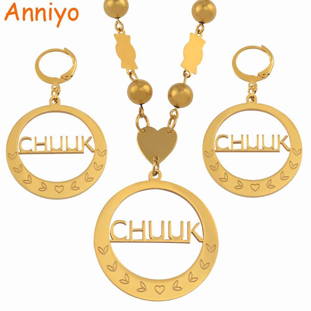 Anniyo Chuuk Big Pendant Beads Necklaces Earrings sets Round Ball Chains Ethnic Jewelry Gifts #048121