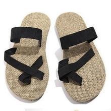2017 A Estrenar Unisex Parejas de Suela zapatos de paja de lino de lino hombres Mujeres zapatillas de playa de espiga sandalias del dedo del pie zapatillas de casa
