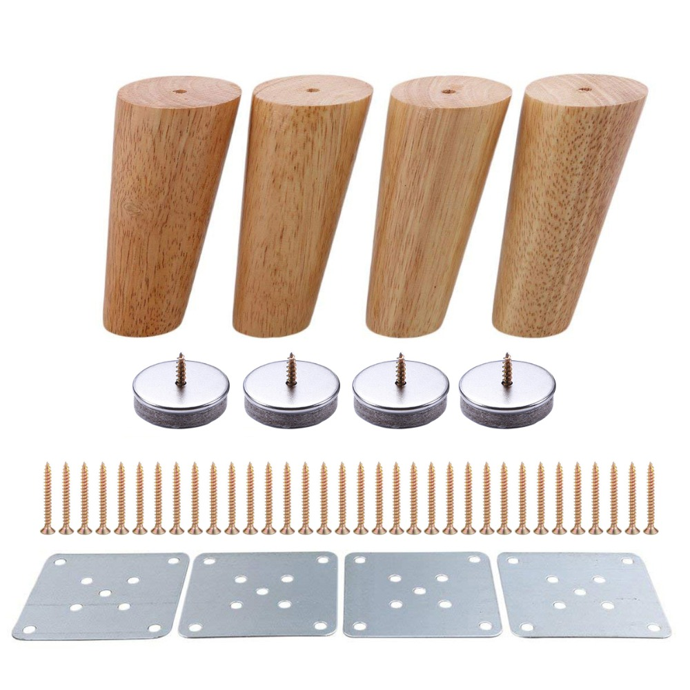 4pcs 100mm Height Wooden Furniture Legs Oblique Tapered Reliable  Sofa Table Feet Couch Dresser Armchair Foot Oak Wood More Gift