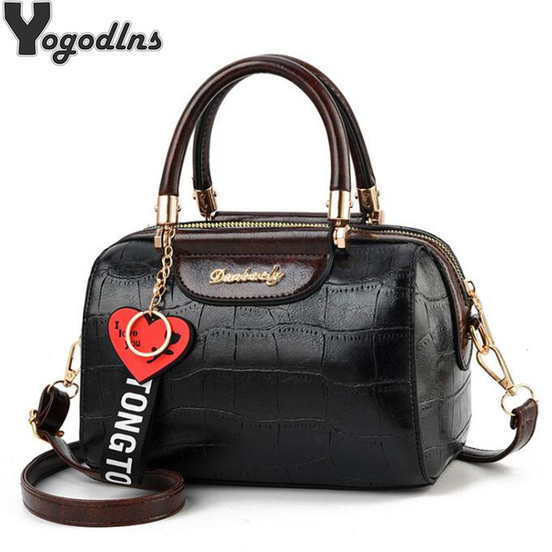 Luxury PU Leather Women Handbags with heart pendant ornaments Ladies Shoulder Bags Fashion Female Boston Crossbody BagsLuxury PU Leather Women Handbags with heart pendant ornaments Ladies Shoulder Bags Fashion Female Boston Crossbody Bags