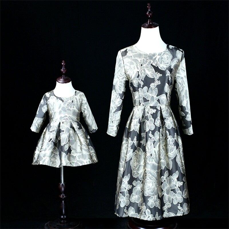 Vestiti Eleganti Mamma E Figlia.Autunno Inverno Jacquard Donne 3xl Moda Abiti Eleganti Capretti