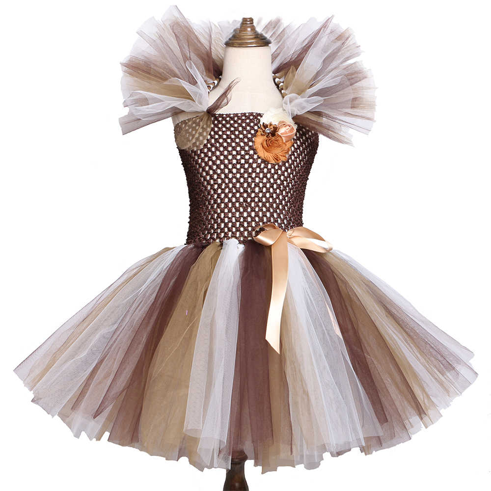 Wild Lion Mane Tutu Dress Brown Flowers Kids Girls Birthday Party Dress Children Halloween Cosplay Animal Dress Costumes 2-12Y