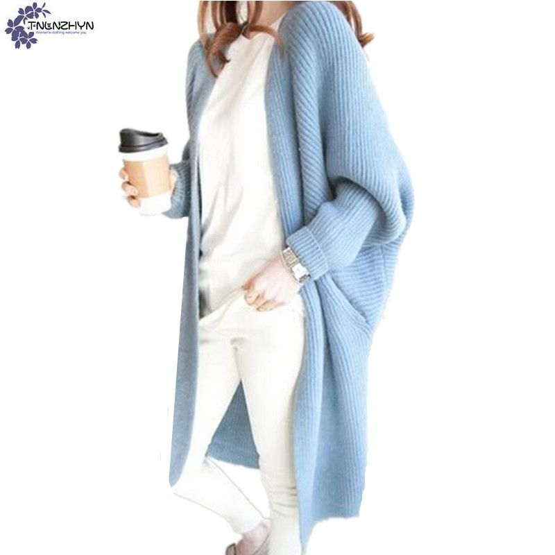 TNLNZHYN Women clothing cardigan sweater coat autumn new fashion casual loose bat long sleeved female long