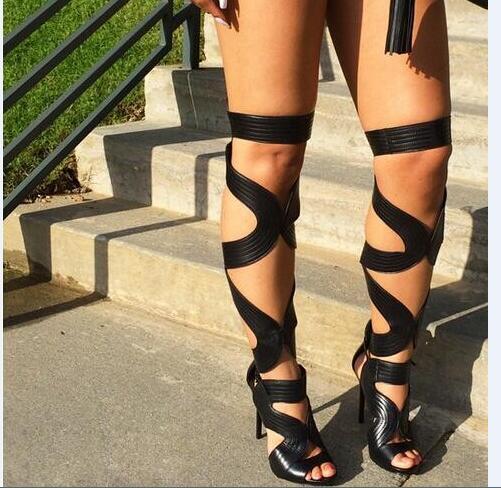 À Hauts 2019 Bout Chaussures Spartiates Sexy Sandales Noir Super D'été Talons Cuissardes Lacets Bretelles Ouvert Long Découpes 5wqx6Hwg1