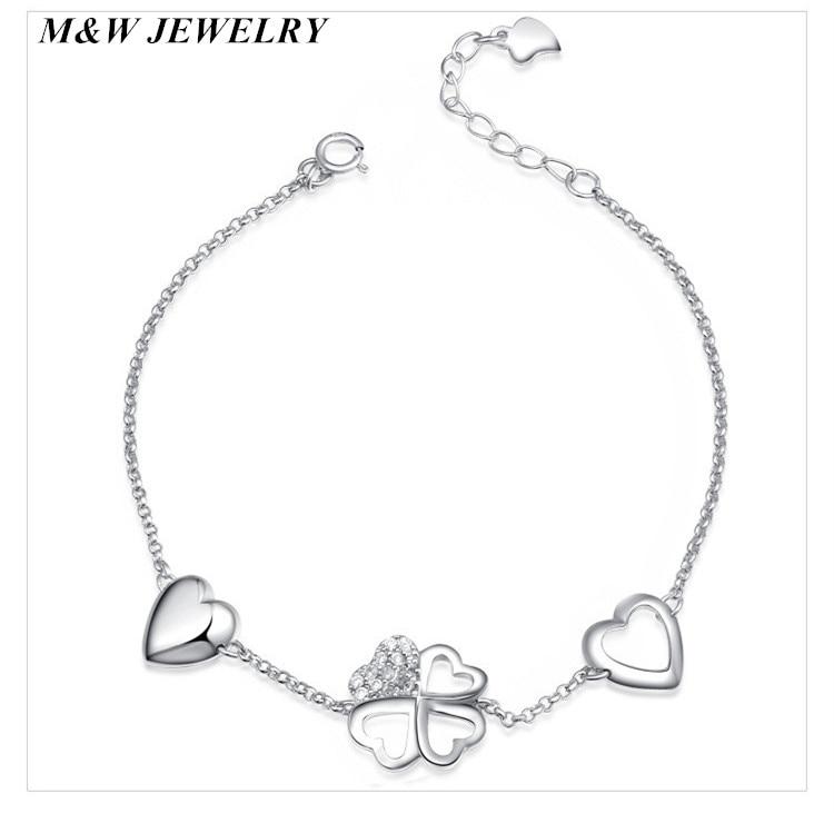 M&W JEWELRY Hot Punk Pulseras 2017 New 925 sterling silver LOVE Heart Bracelet For Women Chain Jewelry Charm Bracelets
