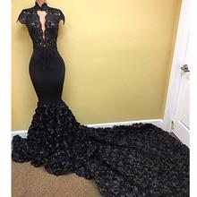 så Ebi Black 3D Rose Flower Mermaid brudtärna klänningar 2018 Lace High Collar Long Prom Gowns Kortärmade Nigeria Party Dress
