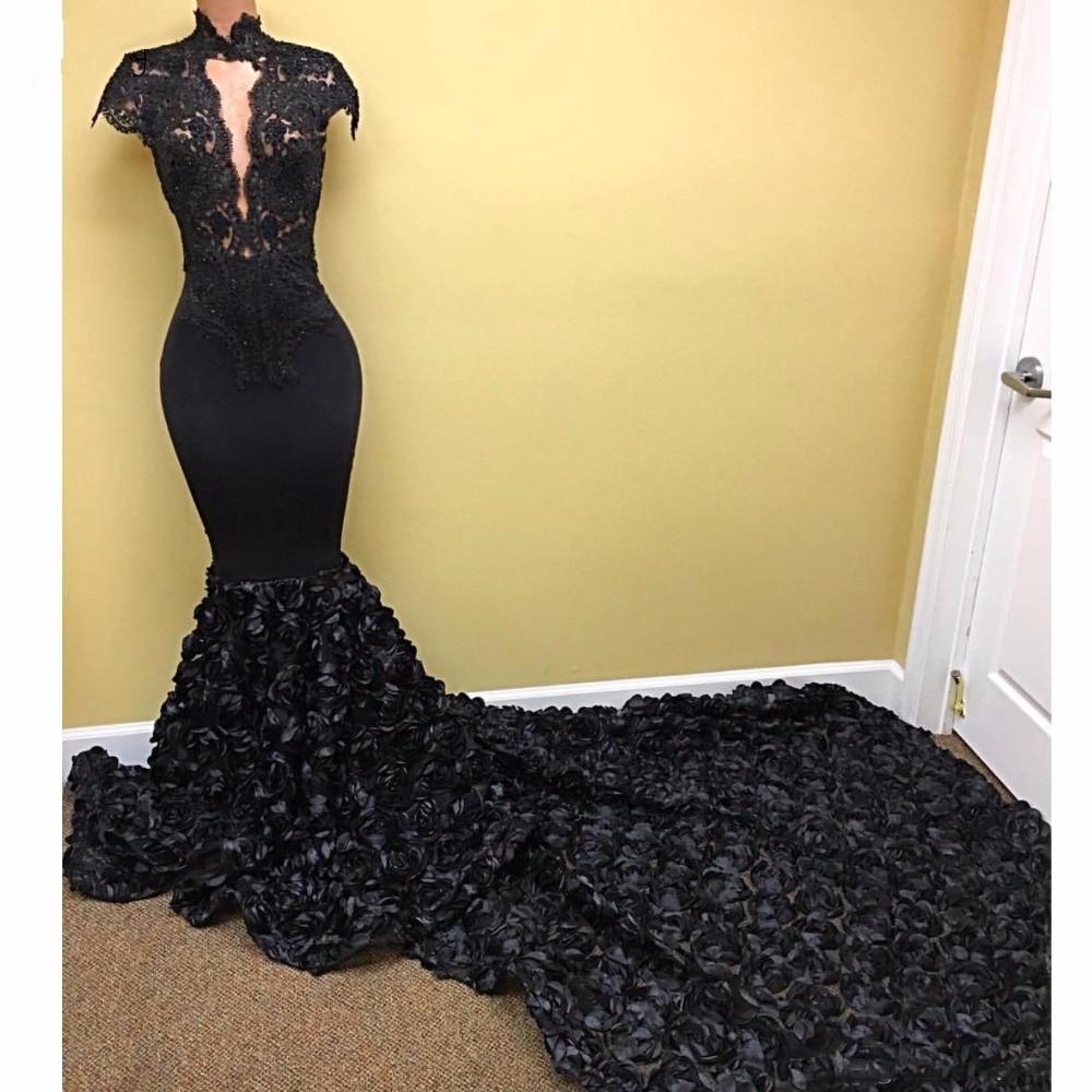 Ebi Black 3D Rose Flower sirena vestidos de dama de honor 2018 Lace - Vestidos de fiesta de boda