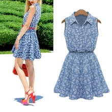 Women High Waist Jeans Lapel Floral Bodycon Sleeveless  Mini Dress