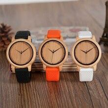Reloj mujer BOBO kuş erkek ahşap saatler renkli silikon bant yumuşak moda kadınlar ahşap kuvars Writwatches büyük hediyeler C aB05