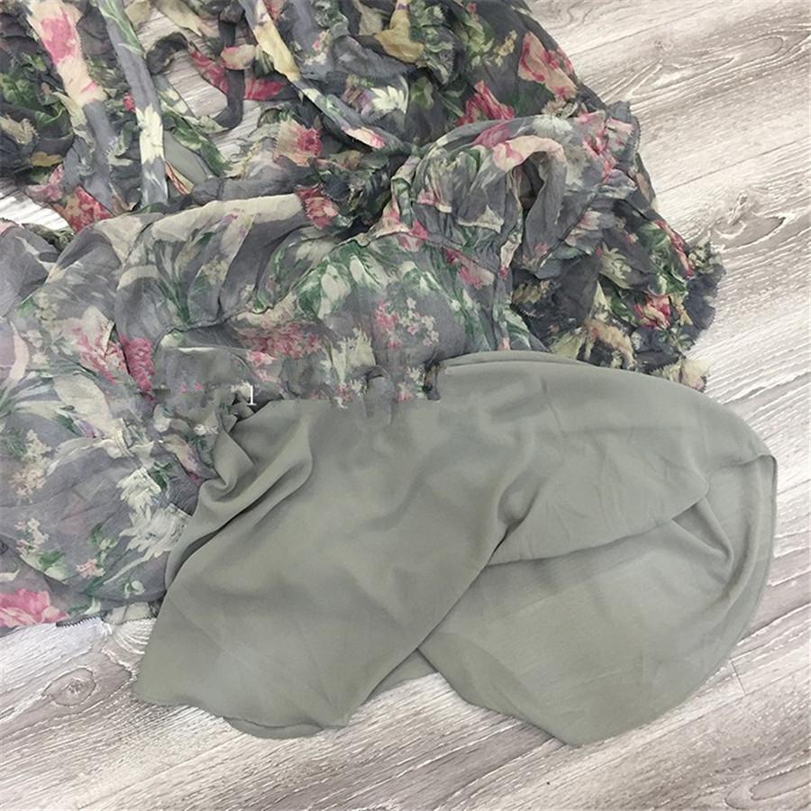 18 Autumn New Arrival Designer Women Mini-dress 100%silk Fabric Long Sleeve Flower Print Grey Sexy Backless V-neck Dress 5