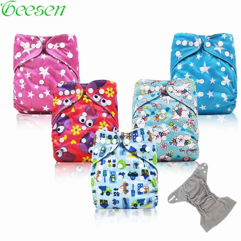 Adjustable Bamboo Charcoal Nappy Baby Pocket Cloth Diaper Cover with Double Gussets Boys and Giels Cloth Diaper