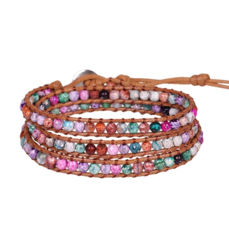 Leather Bracelet Jewelry Multi Color Natural Stone Round Beads Leather Wrap Bracelet Couple Bracelets