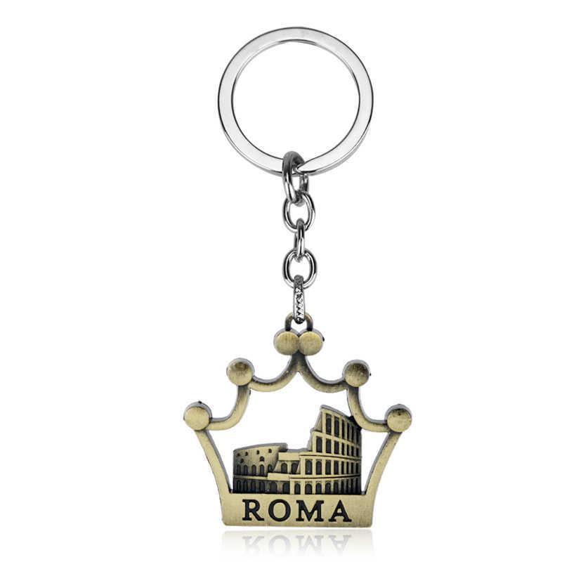 MQCHUN Chaveiro Nova Moda Roman Colosseum Roma Itália Crown Pingentes Homens Jóias Cadeia Chave Do Carro Chaveiro Anel Titular Souvenir-5