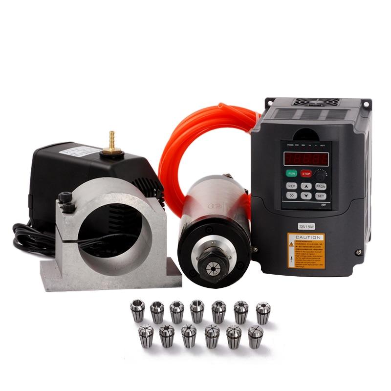 2.2kw Spindle Motor ER20 Water Cooled Spindle Kit + 220v VFD + 80mm Clam +Water Pump/Pipe + 13pcs ER20 For CNC Engraving Machine 1set water cooled spindle motor 1 5kw with a vfd as a set for cnc