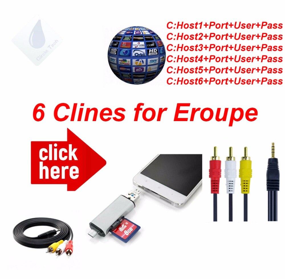 FREESAT V7 HD AV Kabel 1 Jahr Clines 6 Linien cccam europa Deutschland Polen Spanien UK Frankreich Freesat Satelliten-receiver