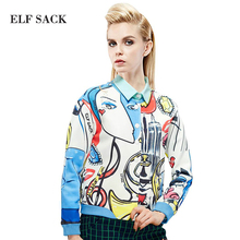 ELF SACK fashion brand new arrival 2015 spring women abstract character print loose short jacket single breasted free shipping