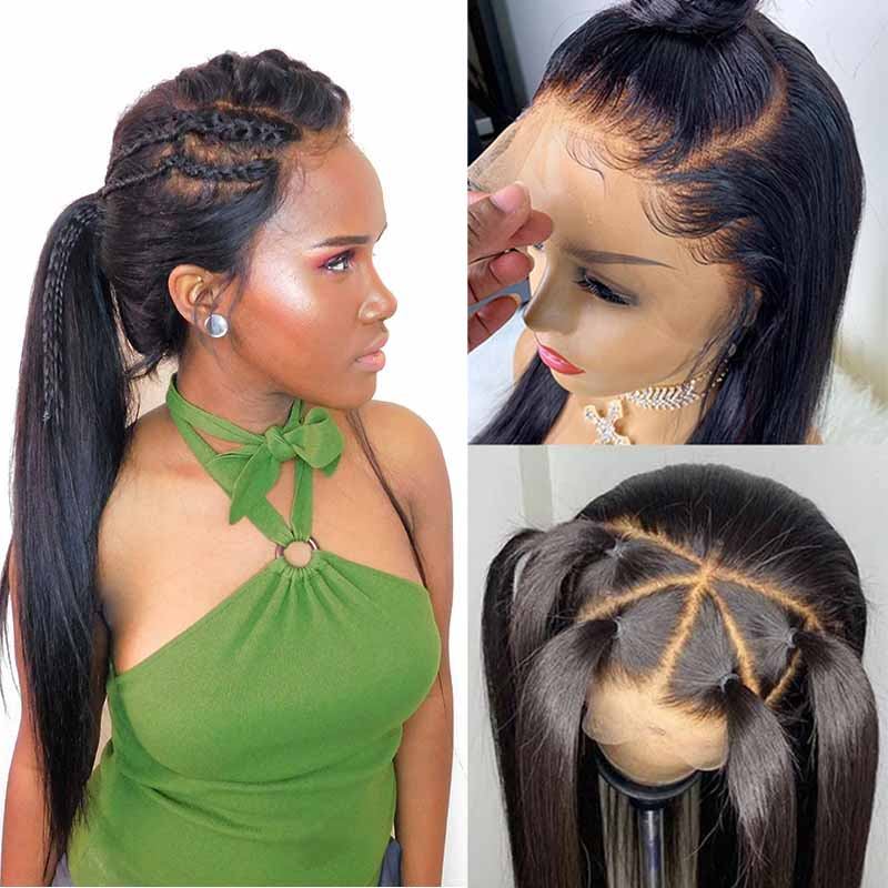 370 Lace Frontal Wig Pre Plucked With Baby Hair Straight Lace Front Human Hair Wigs For Black Women Brazilian Remy Hair Wig(China)