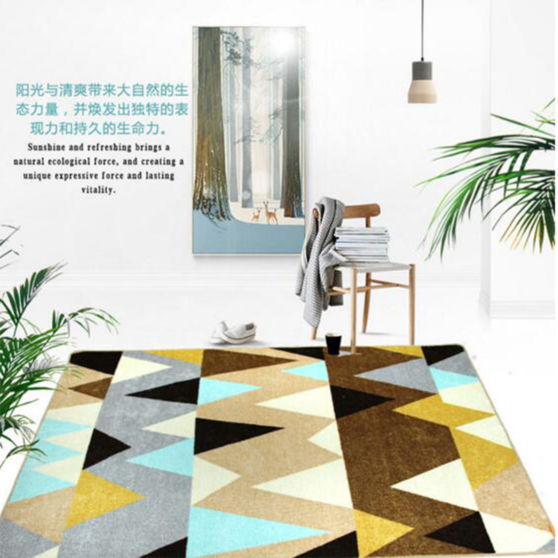 2017 Nordic Carpet Living Room Modern Simplicity Rug Cotton And Polyester Machine Washable Rectangle Anti slip Living Room Mats in Carpet from Home Garden