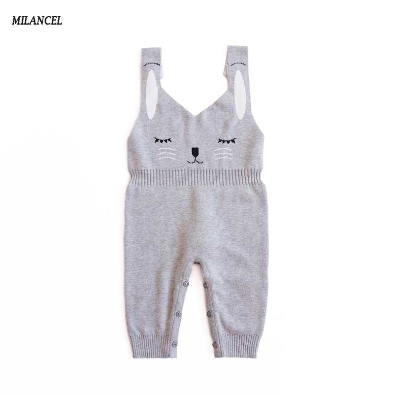 c547fe140b34 MILANCEL 2018 New Baby Rompers Knitted Baby Girls Jumpsuits Rabbit Boys  Rompers Sleeveless Girls Clothes Cute Boys Outerwear