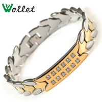Wollet Jewelry CZ Stone Fashion Health Energy Gold Color 5 in 1 Bio Magnetic Tungsten Bracelet For Men Germanium Magnet Infrared