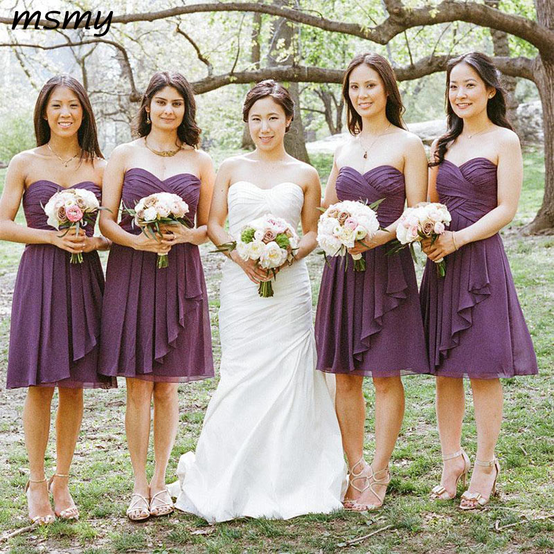 New Simple A-Line  Sweetheart Chiffon Purple Short Pleats  Bridesmaid Dressese Party Prom Dresses