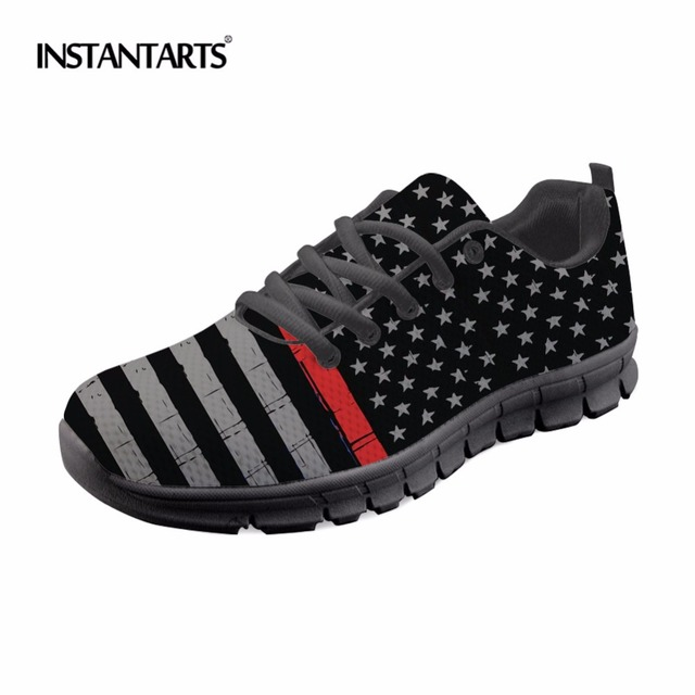 INSTANTARTS Hot Sell Men Womens Athletic Shoes Sport Sneakers Patriotic Red  Line Distressed Flag Printed Outdoor Running Shoes 02db2047861