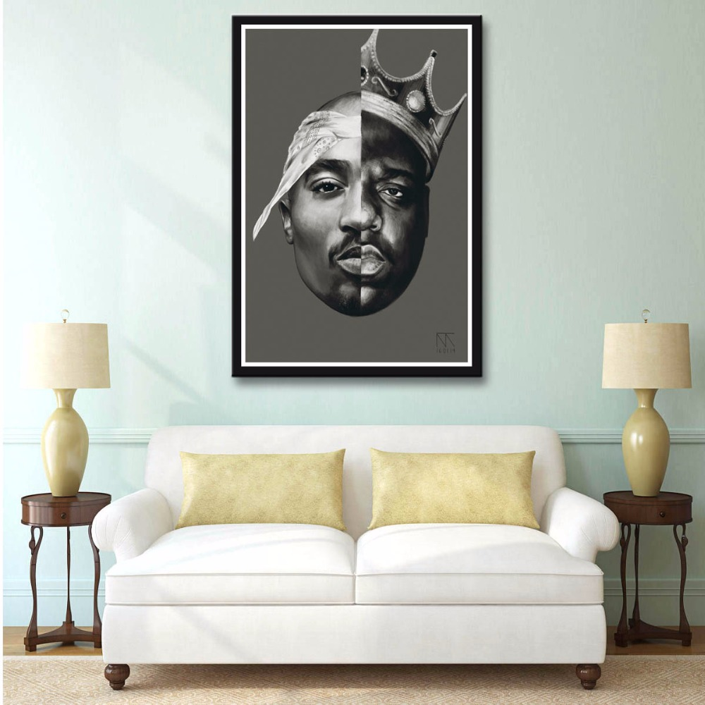 2Pac Notorious B.I.G Tupac Biggie Rap Music Star Art Print Poster Silk Light Canvas Painting Wall Picture Home Decor K0205
