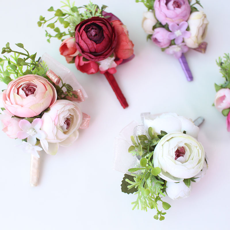 Wedding Corsages and Boutonnieres men groom artificial flowers  (23)