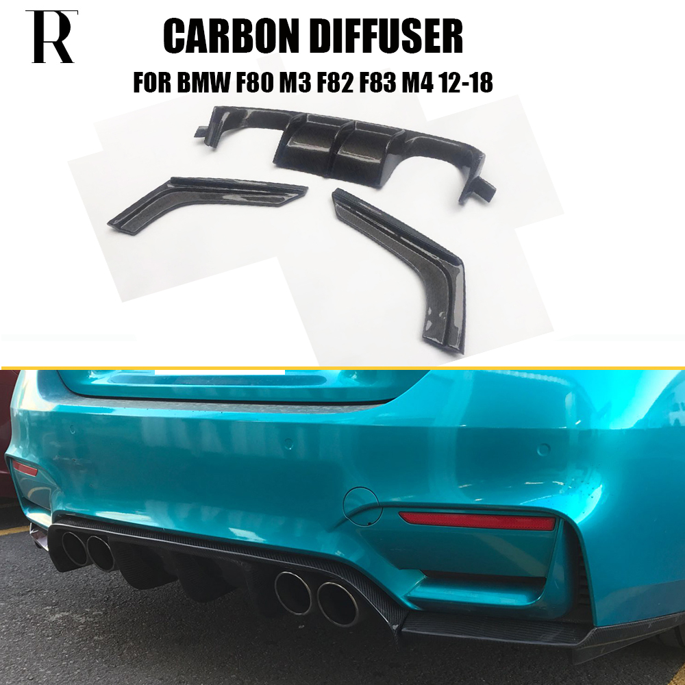 M3 M4 Carbon Fiber Rear Bumper Diffuser Spoiler with Splitter for BMW F80 M3 F82 M4 Coupe F83 M4 Convertible 2012 - 2019 3PCS