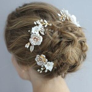 Image 3 - Peinetas de flores de porcelana para novia, conjunto de pasadores para el pelo, tocado de boda a la moda, Tiara lateral para baile de graduación, accesorios para el cabello para novias hechos a mano
