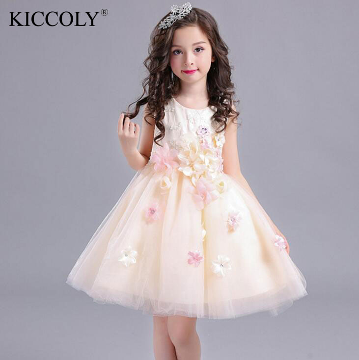 HOT Elegant Baby Girl Formal Wear Dress Children Kids Prom Dresses For Girls Clothes Flower Girl Party Dress Wedding Ball Gown