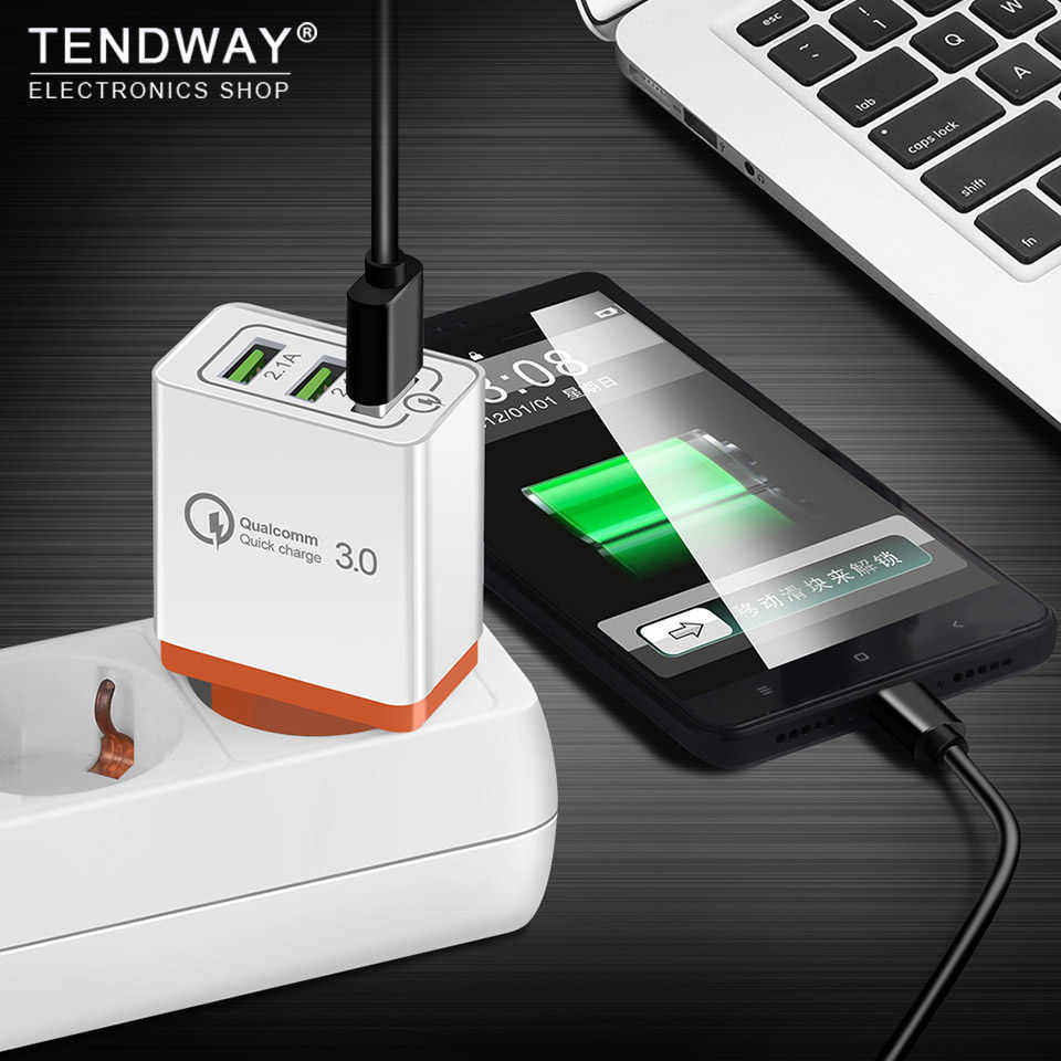 Tendway QC 3.0 Cepat USB Dinding Travel Charger Pengisian Cepat 3.0 Multi USB Ponsel Charger 3 Port Uni Eropa US portable Cepat Charger