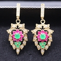 Elegant Bijoux Princess Jewelry Red & Green Zircon Crystal CZ Gold Plated Party Earrings For Women 2colors