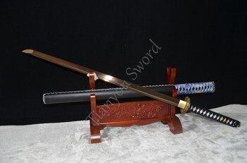 Bordo Dritto In Acciaio   Fatti A Mano 1095 Alto Tenore Di Carbonio In Acciaio Oro Samurai Ninja Spada Diritta Katana Completa Tang Sharp Bordo & Regalo
