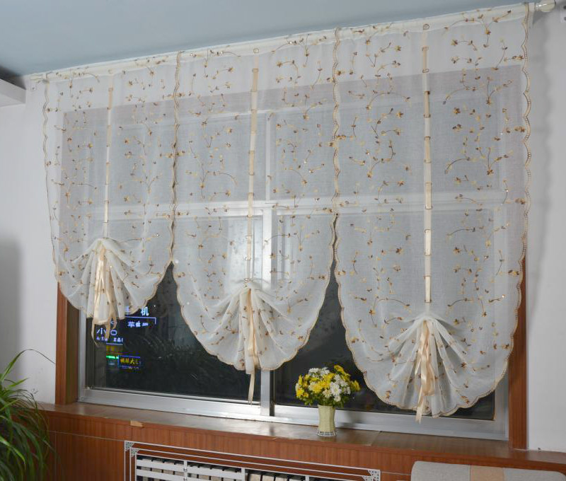 Beautiful Babysbreath Fresh Yellow Flower Balloon Curtain Rome Curtains For Living  Room Home Textile New Design Embroidery