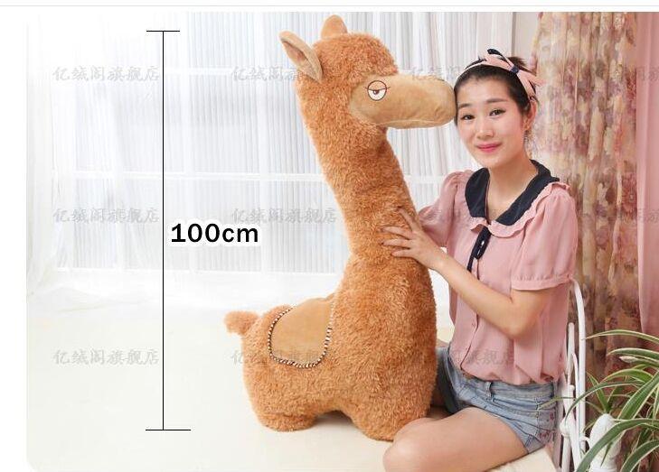 Dessin animé brun alpaga mouton en peluche jouet grand 100 cm doux oreiller cadeau d'anniversaire créatif w5186