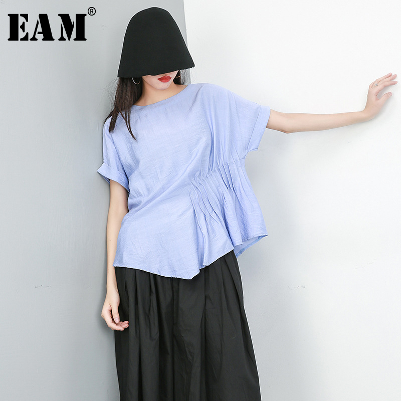 [EAM] 2020 New Spring Summer Round Neck Short Sleeve Black Irregular Pleated Split Joint Big Size T-shirt Women Fashion JU655