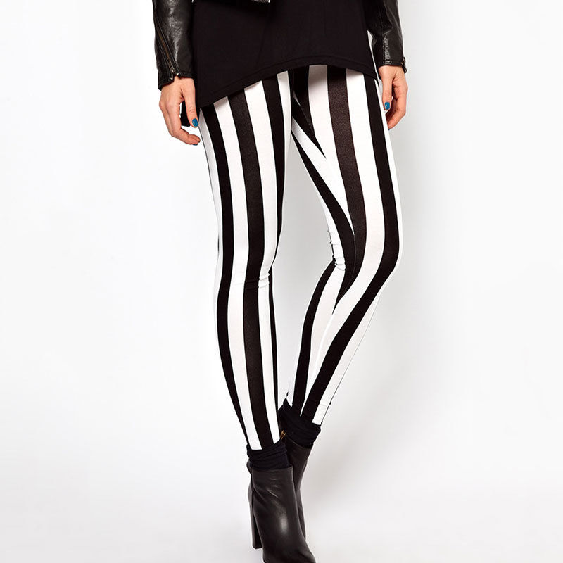 Fashion Women Casual Black White Elastic Stripes Stretch Leggings Long Pants