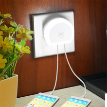 ITimo светодиодный Ночной светильник с двойным usb-портом 5 в 1 а светильник с датчиком управления, Домашний Светильник, штепсельная настенная лампа, штепсельная розетка для ЕС/США