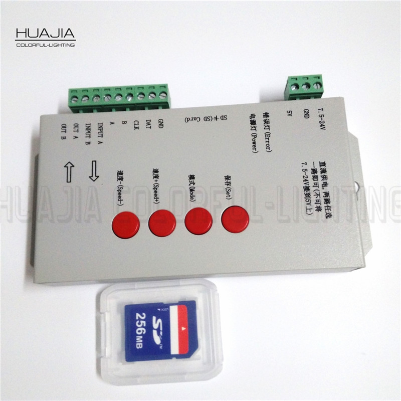 ФОТО Best price T1000S SD Card WS2801/WS2811/ WS2812B LPD6803 LED 2048 Pixels Controller DC5~24V RGB Controller