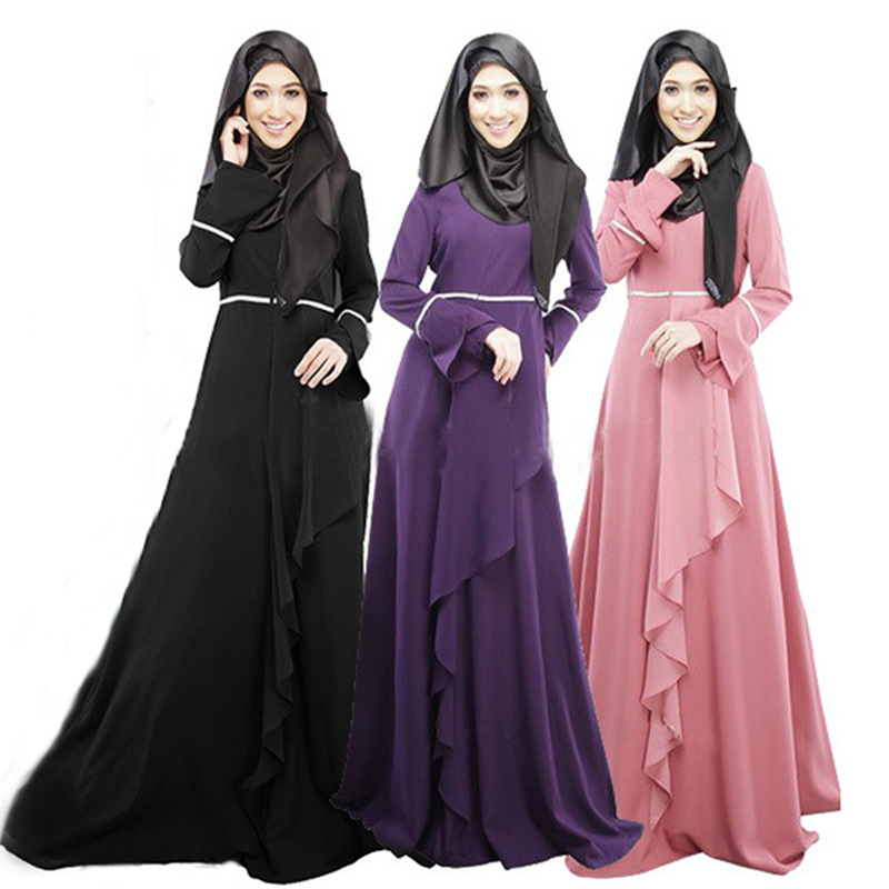 Muslim women's robes long-sleeved Arab Hui dresses Malaysian Indonesian folk-custom traditional long dress