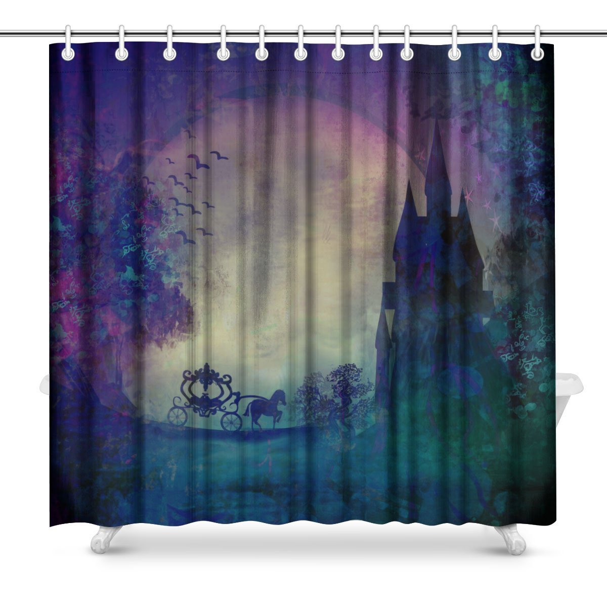 Carriage at Sunset, Silhouette of a Horse Carriage and a Medieval Castle Fabric Bathroom Shower Curtain Decor Set with Hooks,