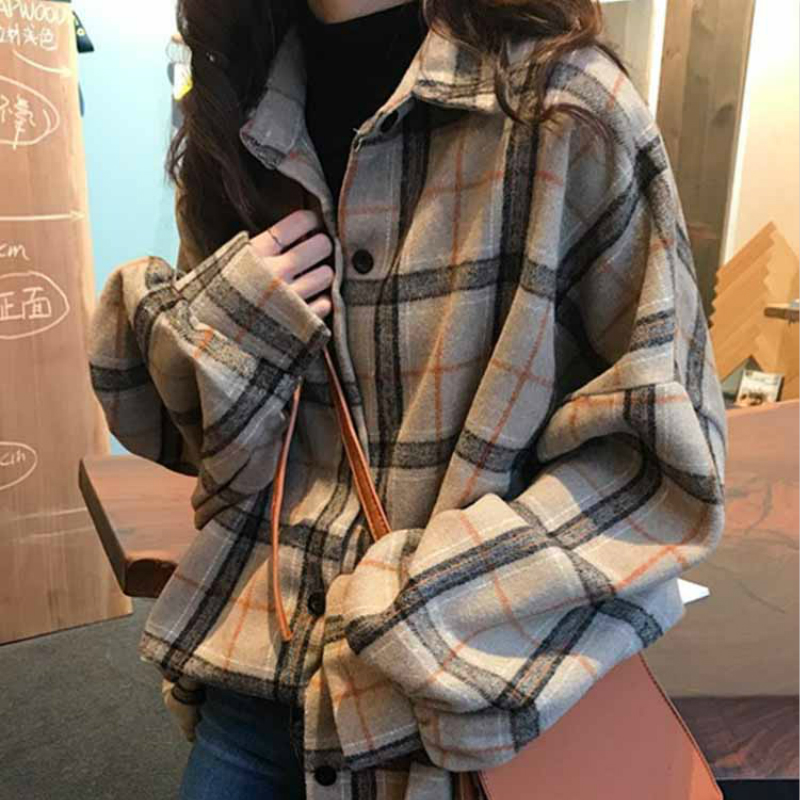 Mazefeng 2019 Spring Women Shirt Loose Style Shirt Women Casual Shirt Ladies Women Tops Plaid Woollen Cloth Shirt Streetwear