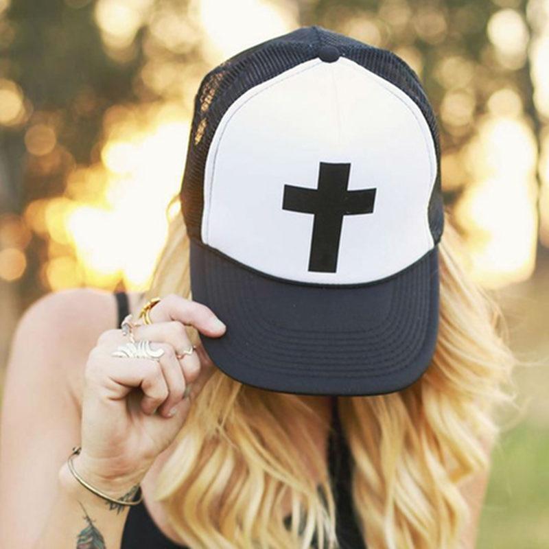 2018 New Cross Letters Print Baseball Cap Trucker Hat For Women Men Unisex Mesh Adjustable Size Drop Ship White
