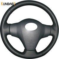 KUNBABY Car Styling Genuine Leather Car Steering Wheel Cover for Toyota Yaris Vios RAV4 2006 2009 Scion XB 2008 Car Accessories